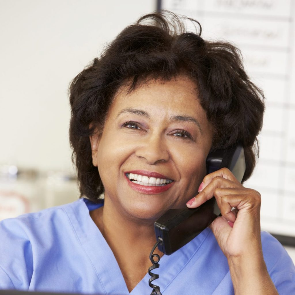 woman on healthcare phone system