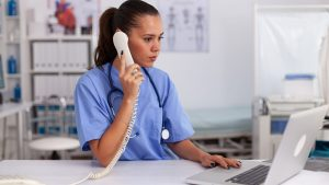 doctor using a hospital phone system